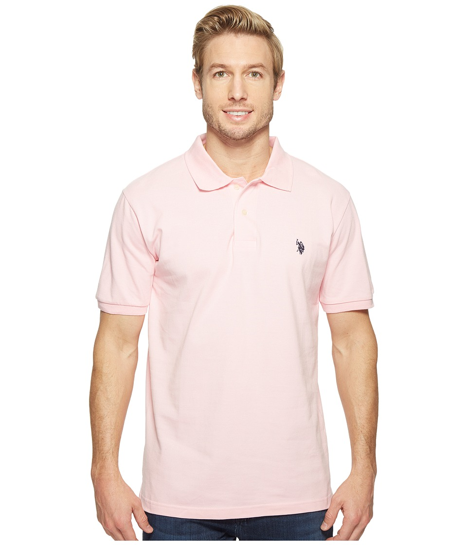 U.S. POLO ASSN. - Solid Cotton Pique Polo with Small Pony (Pink Rose/Classic Navy) Men's Short Sleeve Knit