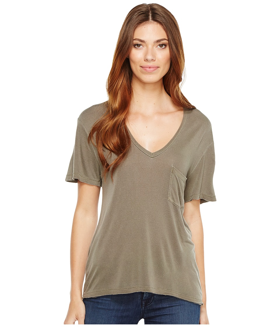 Project Social T Rylee Pocket V (P. Army) Women's Short Sleeve Pullover