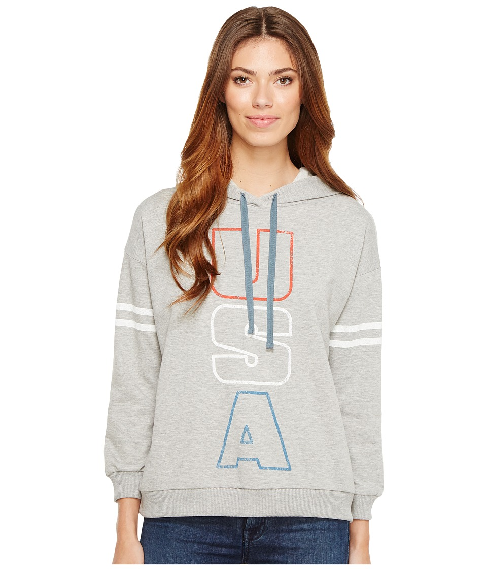 Project Social T - USA Hoodie (Heather Grey) Women's Sweatshirt