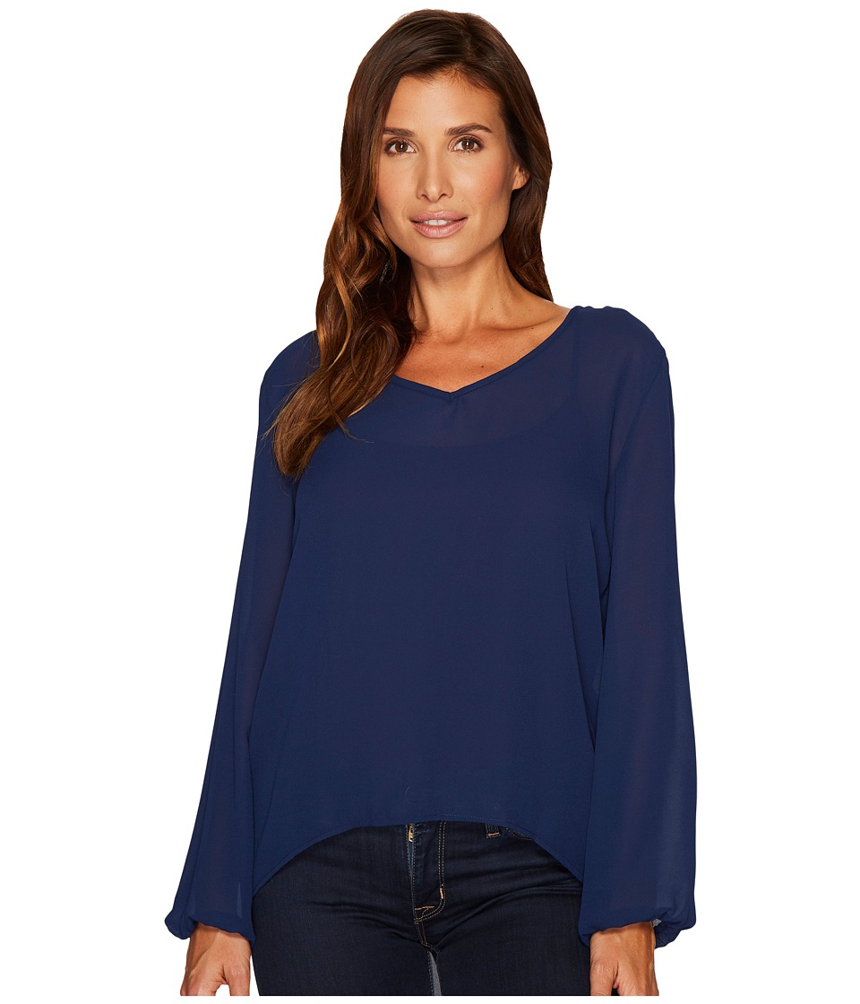 Rock and Roll Cowgirl - 3/4 Sleeve Blouse B4-3193 (Navy) Women's Blouse
