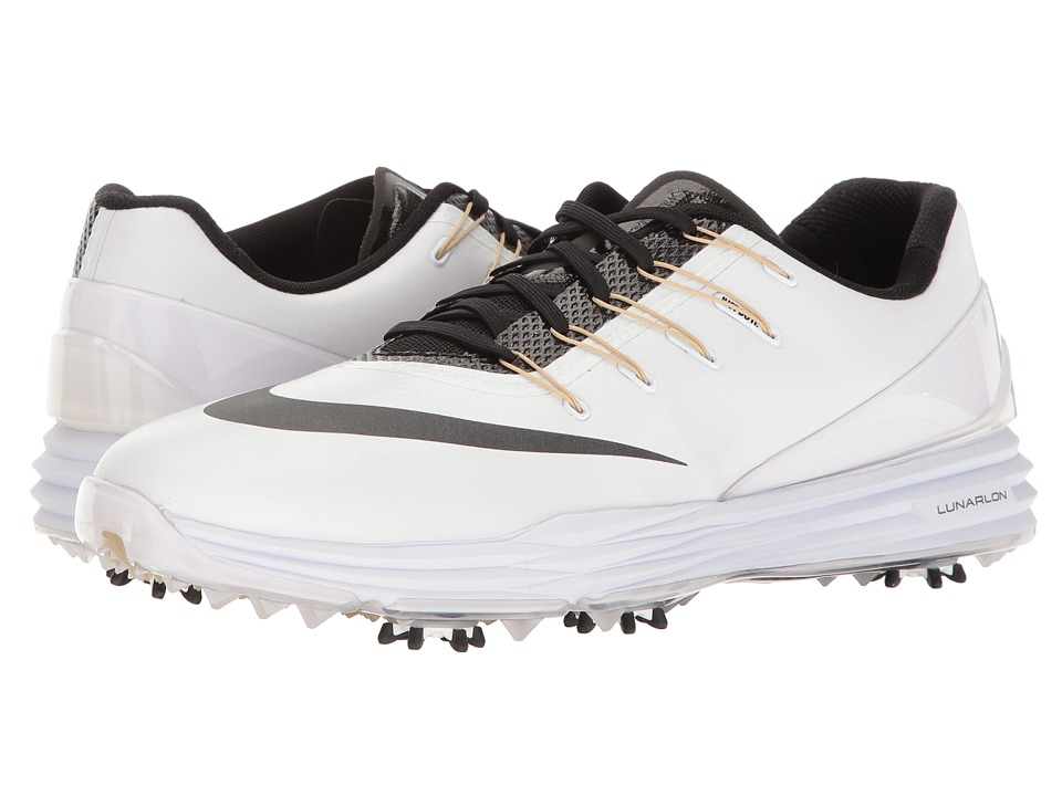 Nike Golf - Lunar Control 4 College (White/Black/Team Gold) Men's Golf Shoes
