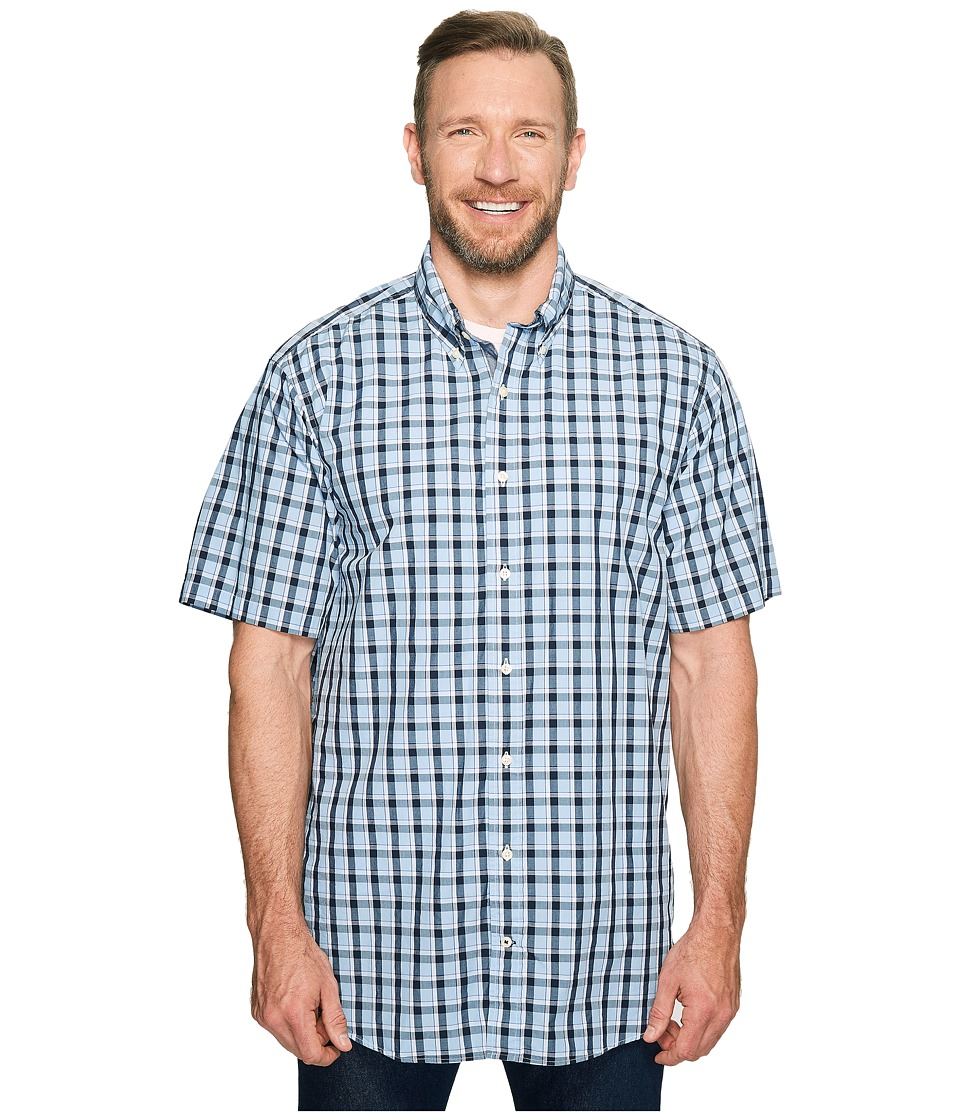 Nautica Big & Tall - Big Tall Short Sleeve Large Plaid Woven Shirt (Light Haze) Men's Clothing