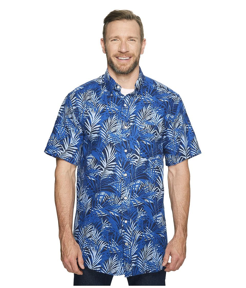 Nautica Big & Tall - Big Tall Short Sleeve Tropical Print Woven Shirt (Maritime Navy) Men's Short Sleeve Button Up