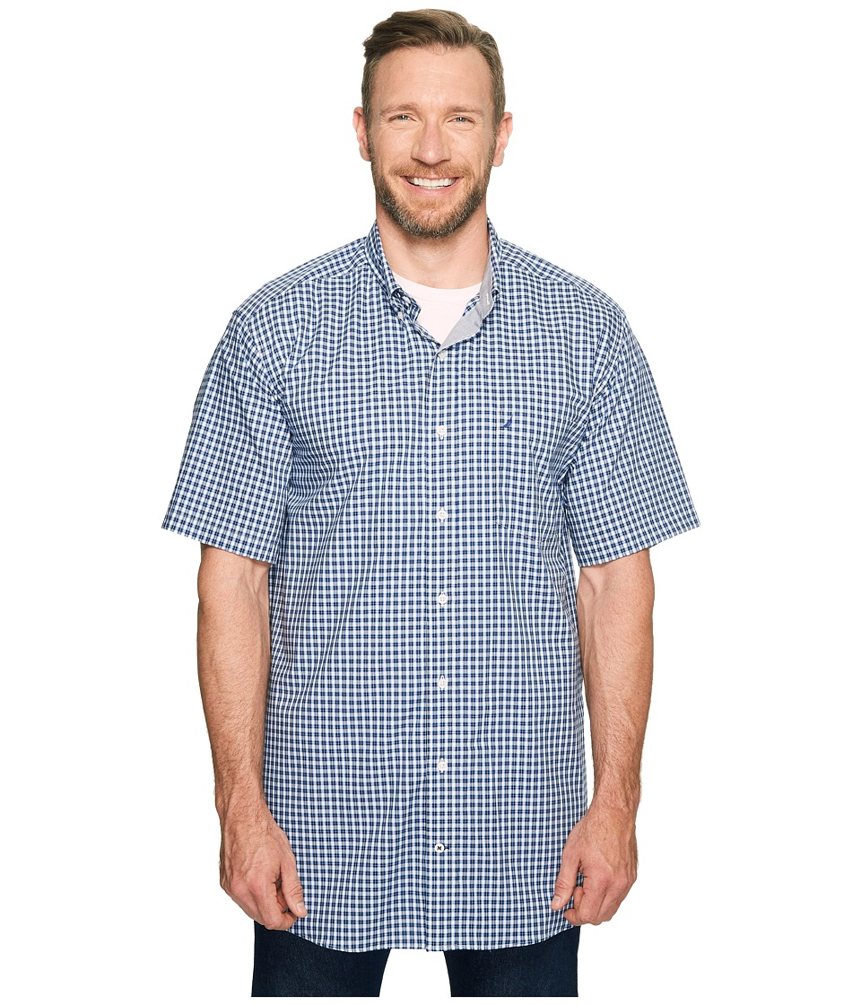 Nautica Big & Tall - Big Tall Short Sleeve Medium Plaid Wrinkle Resistant Woven Shirt (Maritime Navy) Men's Short Sleeve Button Up