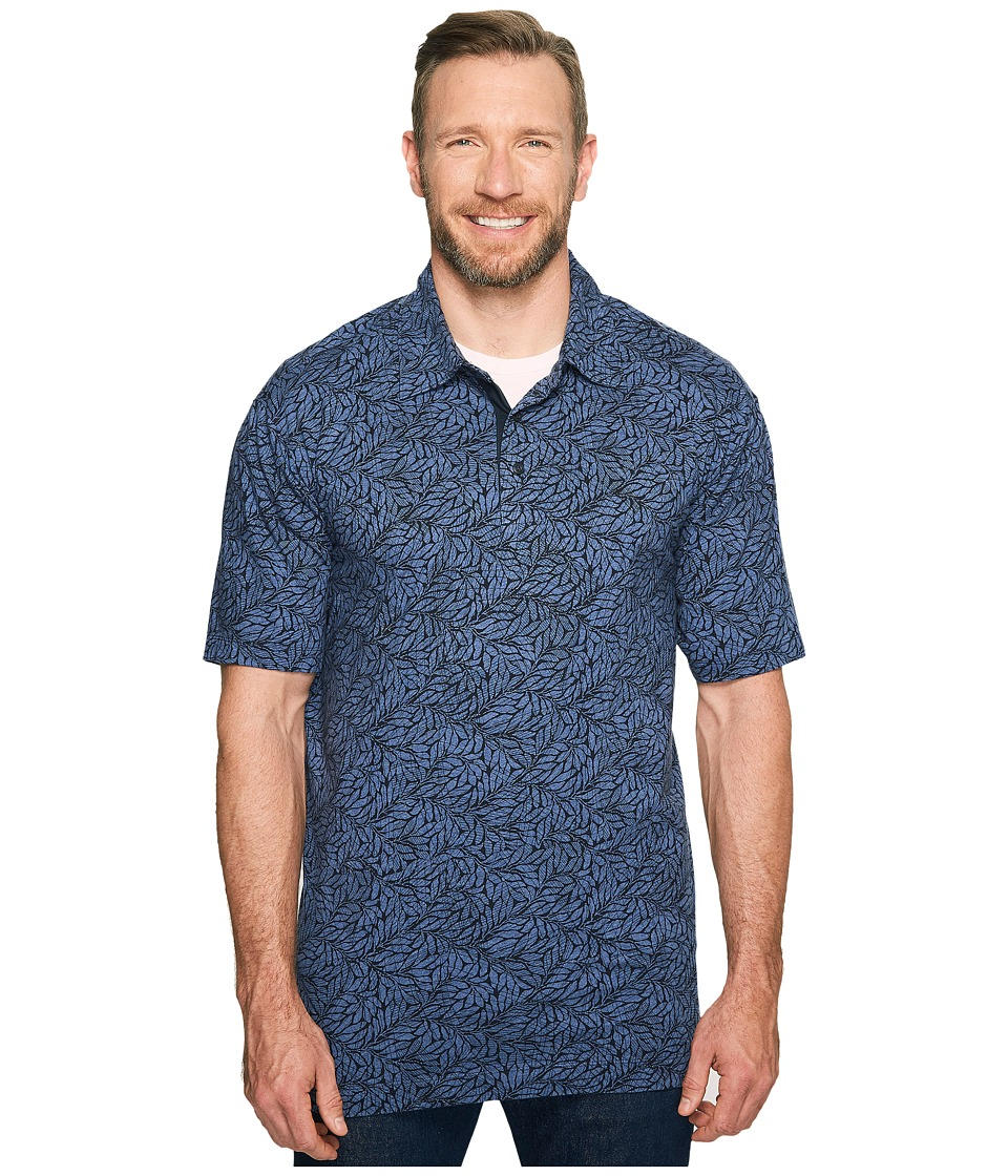 Nautica Big & Tall - Big Tall Leaves Print Polo Knits (Blue Indigo) Men's Clothing