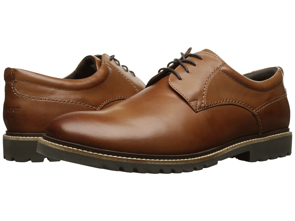 Rockport - Marshall Plain Toe Oxford (Cognac Leather) Men's Lace up casual Shoes