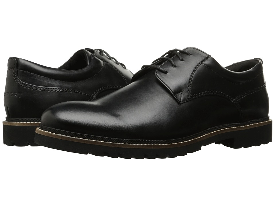 Rockport - Marshall Plain Toe Oxford (Black Leather) Men's Lace up casual Shoes