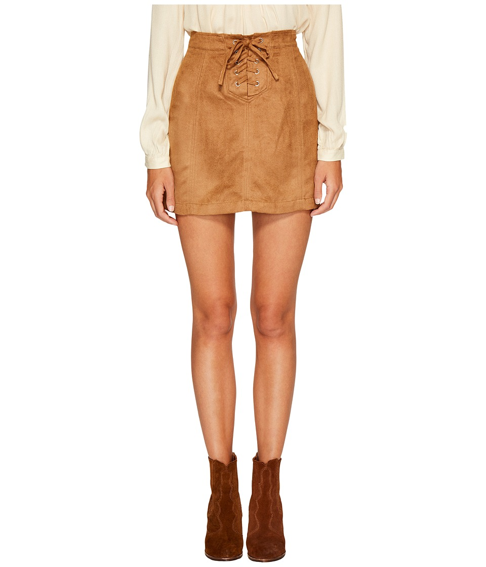 Jack by BB Dakota Darling Woven Suede Lace-Up Skirt (Fall Camel) Women