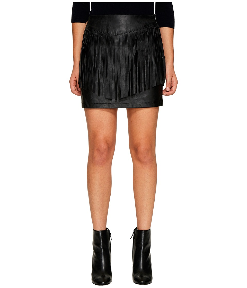 Jack by BB Dakota - Cooley Faux Leather Fringe Skirt (Black) Women's Skirt