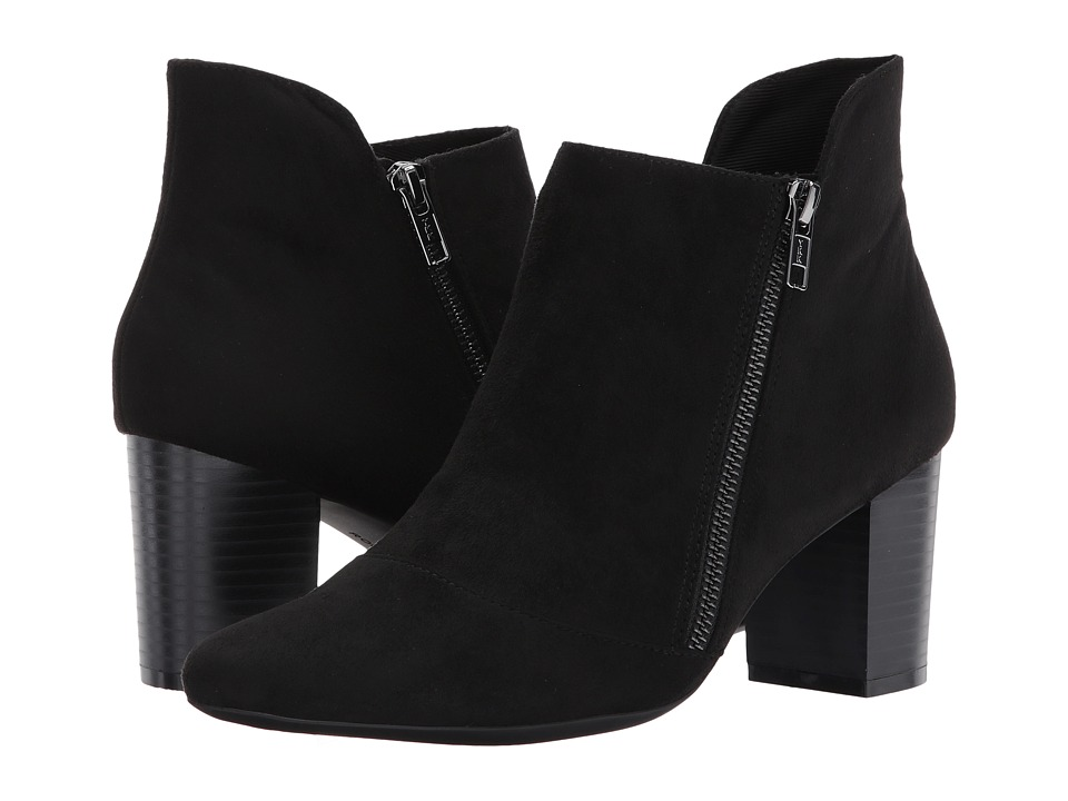 Rockport Gail Zip Bootie (Black Microsuede) Women