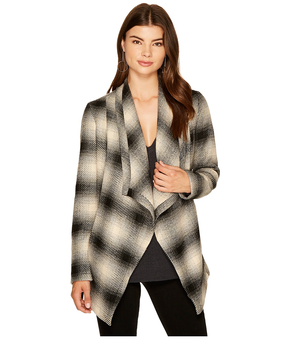 Jack by BB Dakota - Mower Light Plaid Drape-Front Wrap Jacket (Ghost Grey) Women's Coat