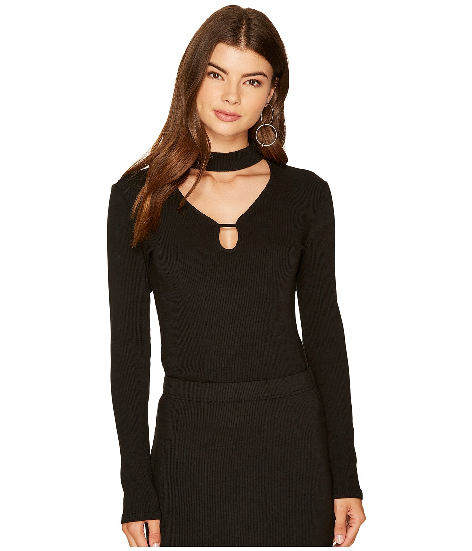 Jack by BB Dakota - Wilmer Rib-Knit Top with Front Cut Out (Black) Women's Clothing