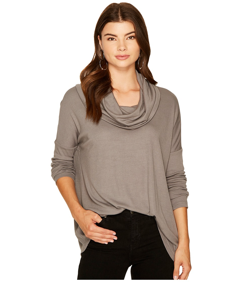 Jack by BB Dakota - Hogen Soft Rib Cowl Neck Top (Charcoal Grey) Women's Clothing