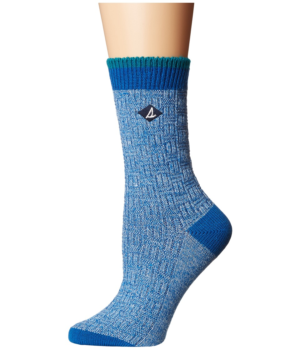 Sperry Basket Weave Slub Sweater Weight Boot Crew (Blue Marl) Women