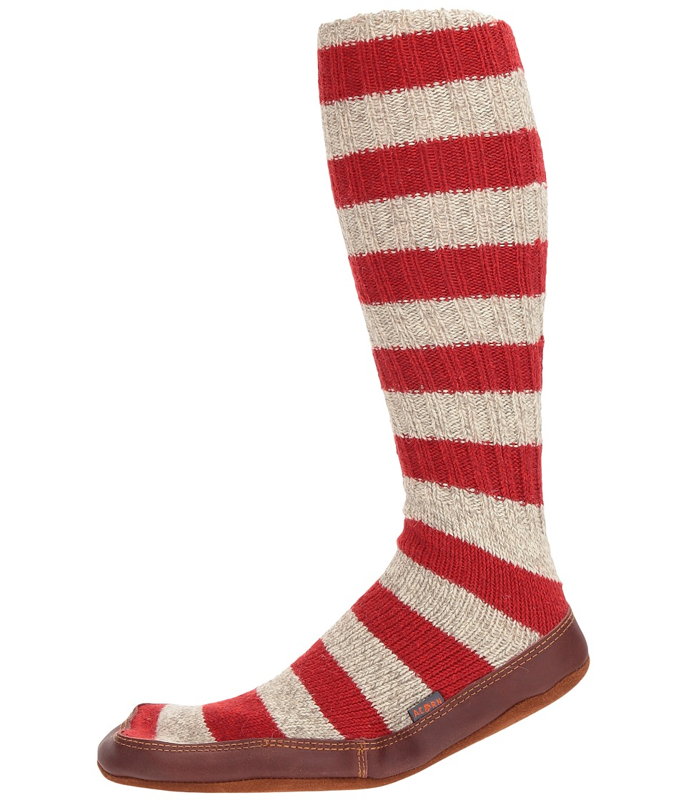Acorn - Slipper Sock (Red Stripe Ragg) Shoes