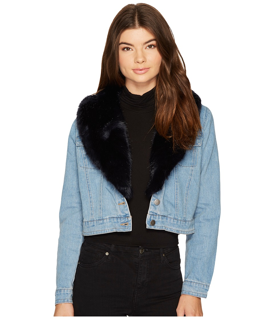 BB Dakota - Mia Faux Fur Trim Denim Jacket (Light Blue) Women's Coat