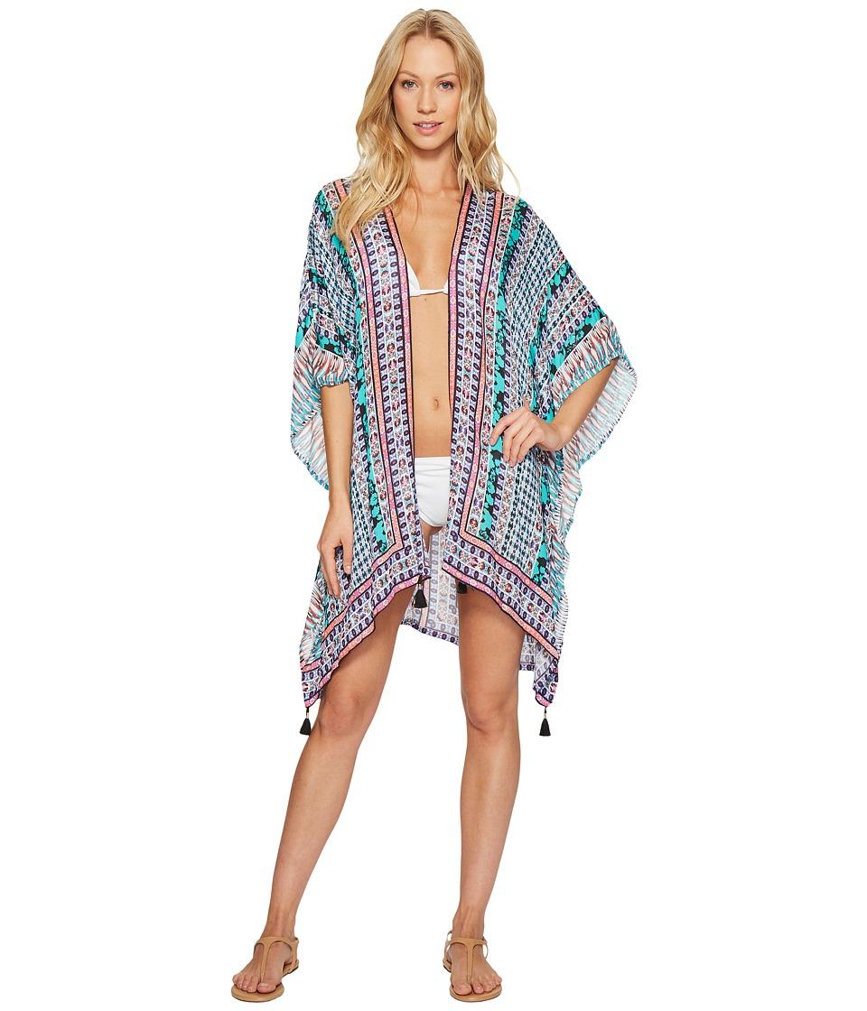 Nanette Lepore - Kimono Patchwork Kimono Cover-Up (Multi) Women's Swimwear