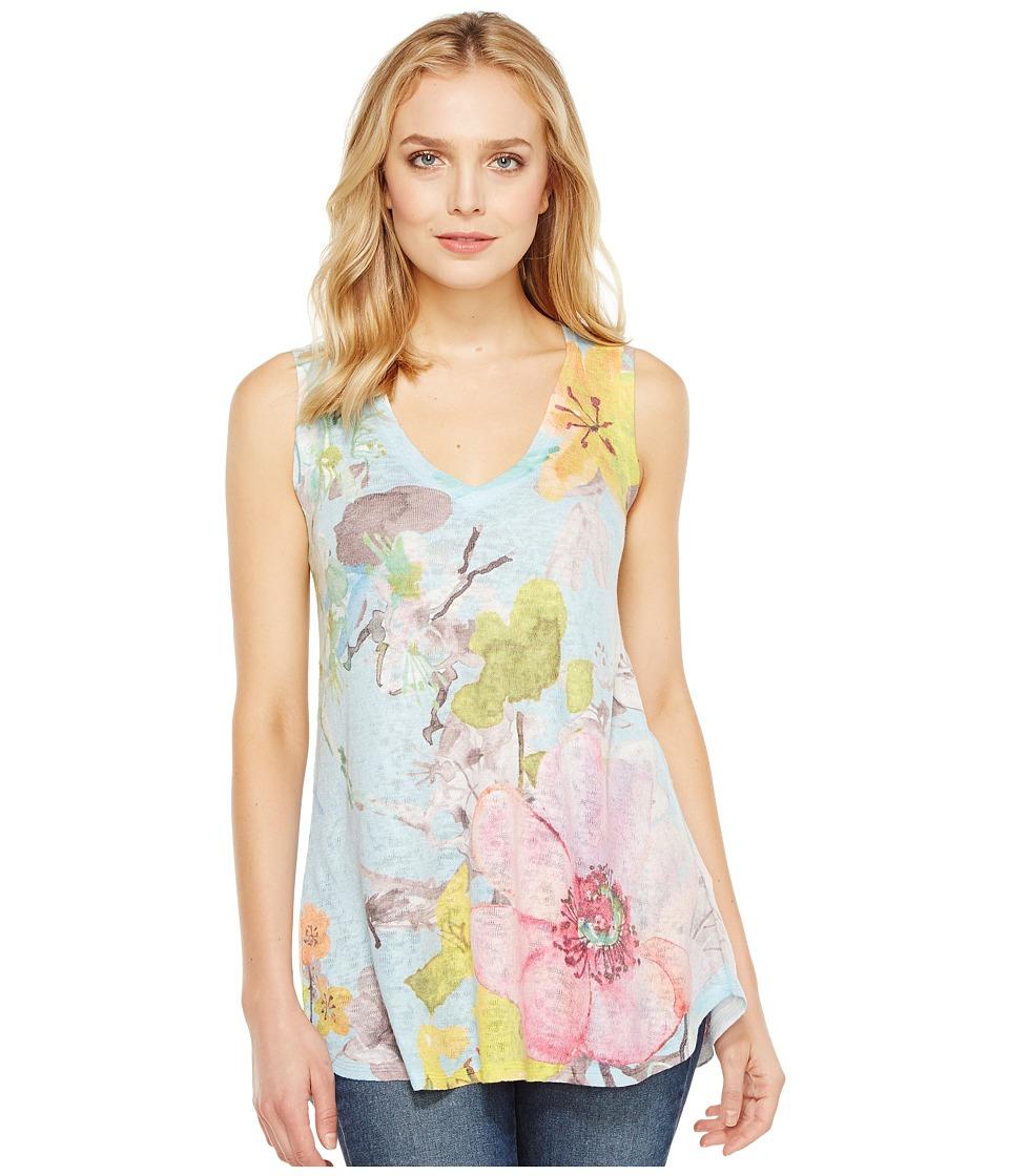 Nally & Millie - Floral Print V-Neck Tank Top (Multi) Women's Sleeveless