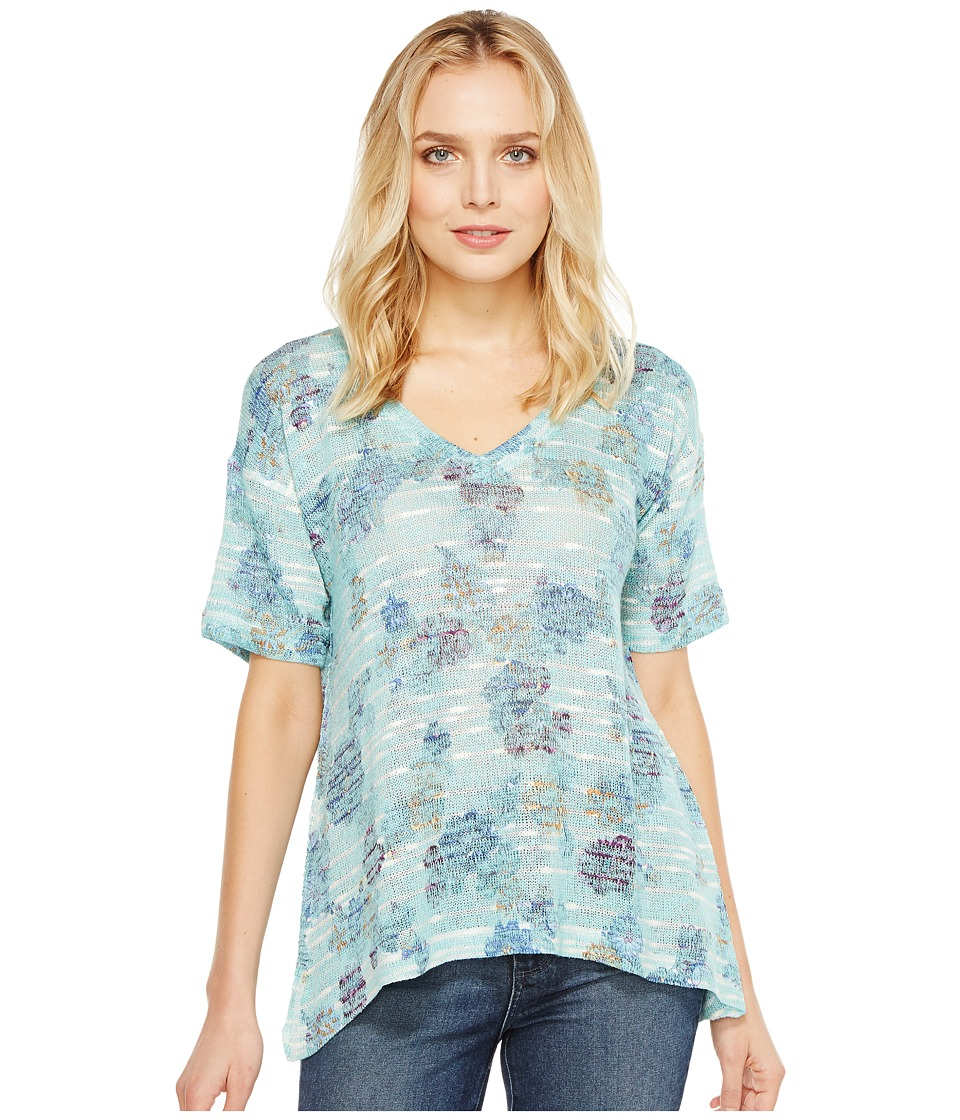 Nally & Millie - Floral Print V-Neck Top (Multi) Women's Clothing
