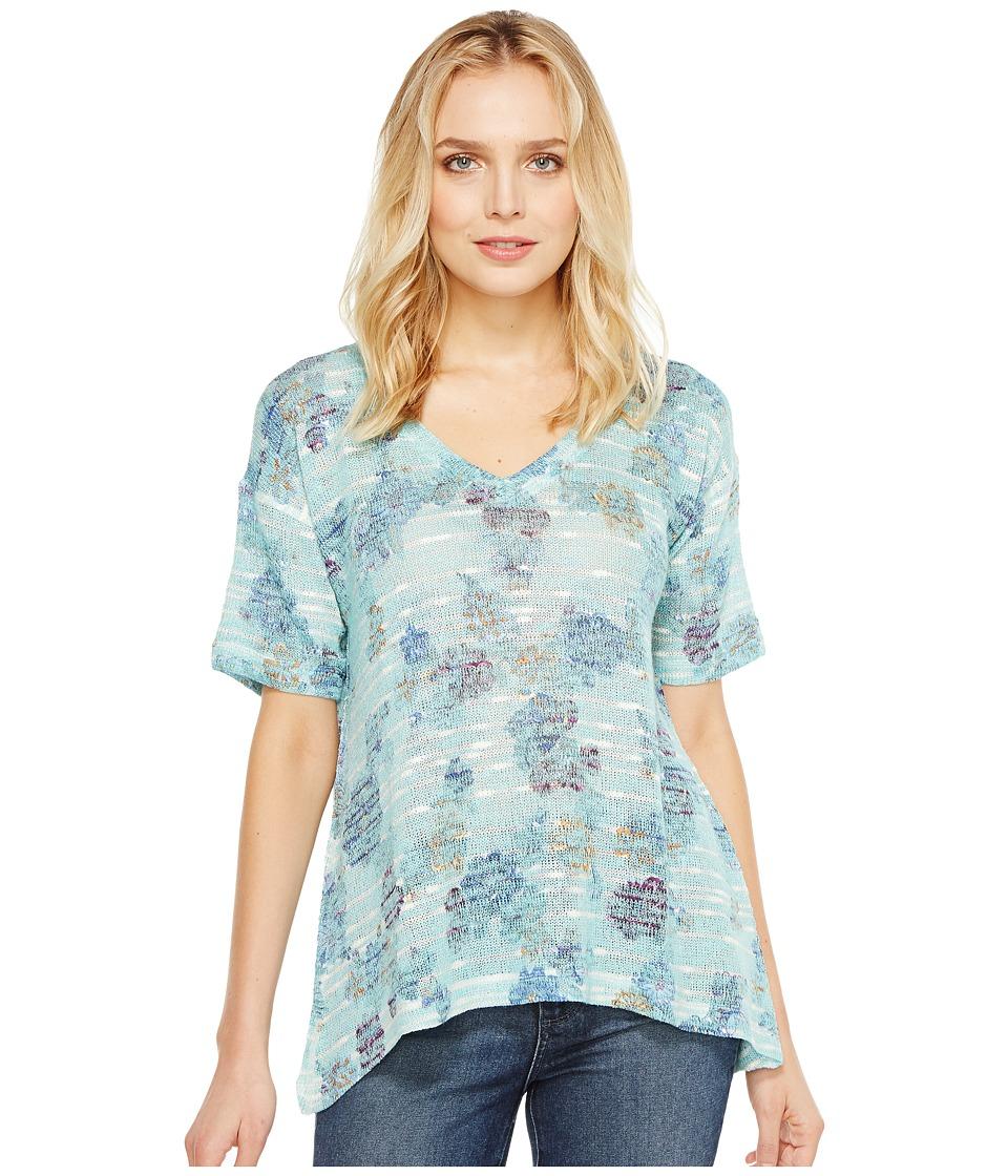 Nally & Millie - Floral Print V-Neck Top (Multi) Women's Clothing