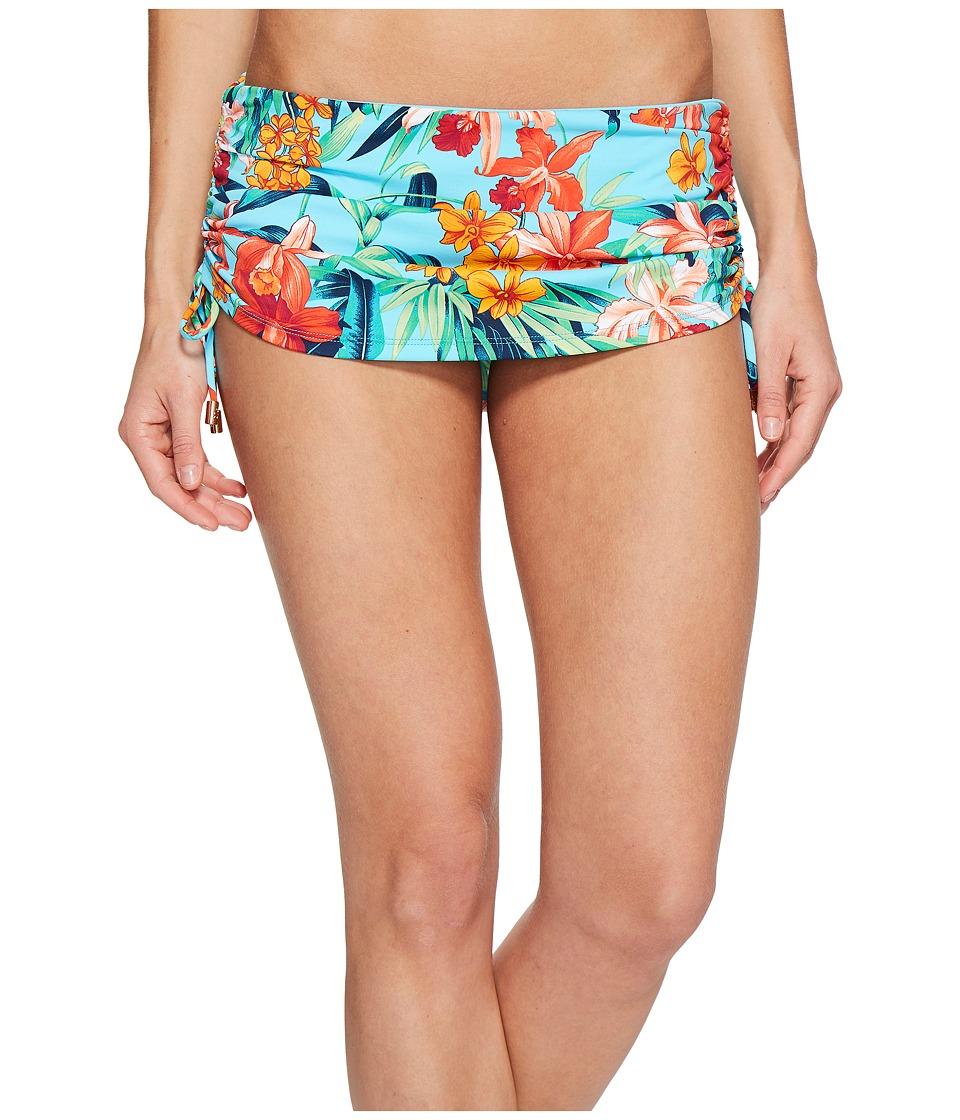 Tommy Bahama Floriana Shirred Skirted Hipster Bikini Bottom (True Turquoise) Women