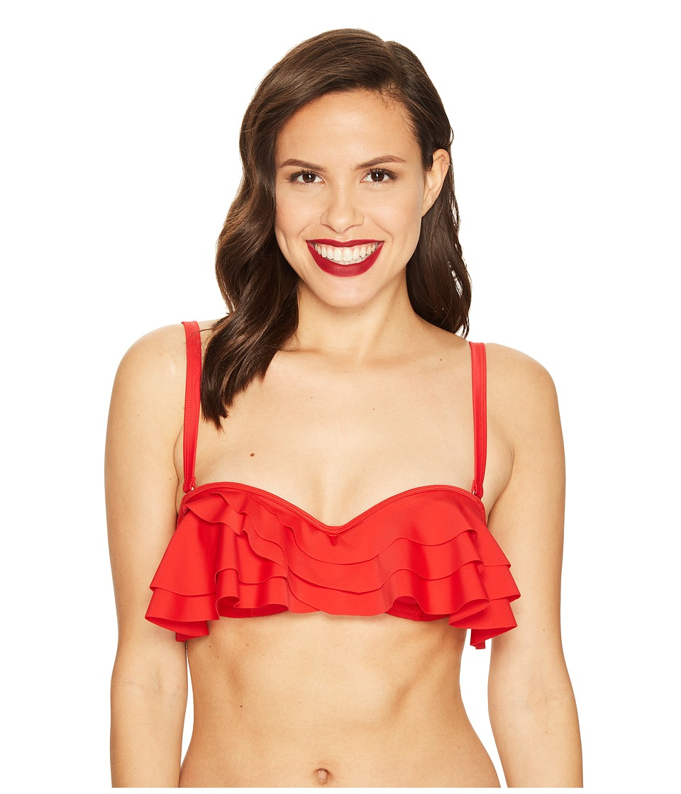 Unique Vintage - Mrs. Kane Ruffled Swim Top (Red) Women's Swimwear
