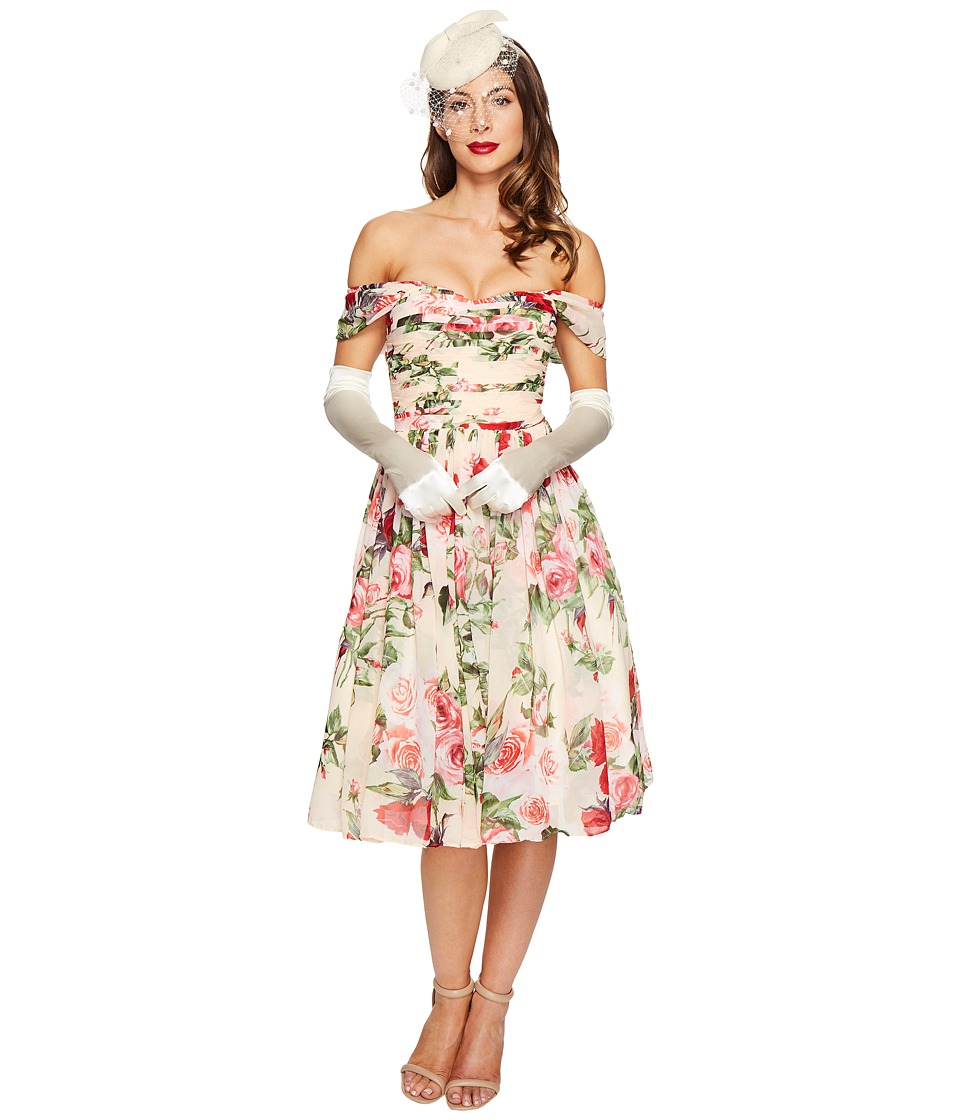Unique Vintage Chiffon Off Shoulder Garden State Dress (Peach Floral) Women