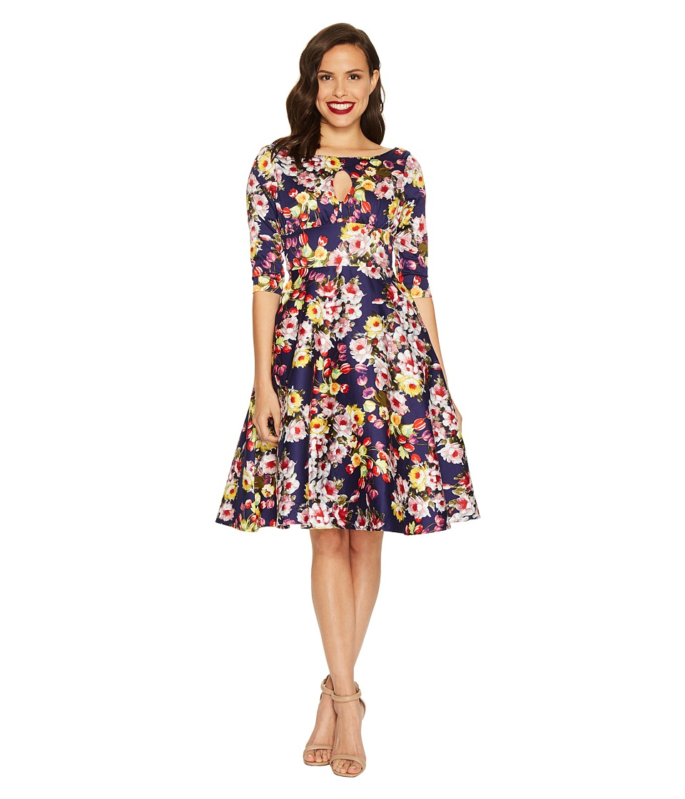 Unique Vintage - Keyhole Bouvier Swing Dress (Navy Floral) Women's Dress