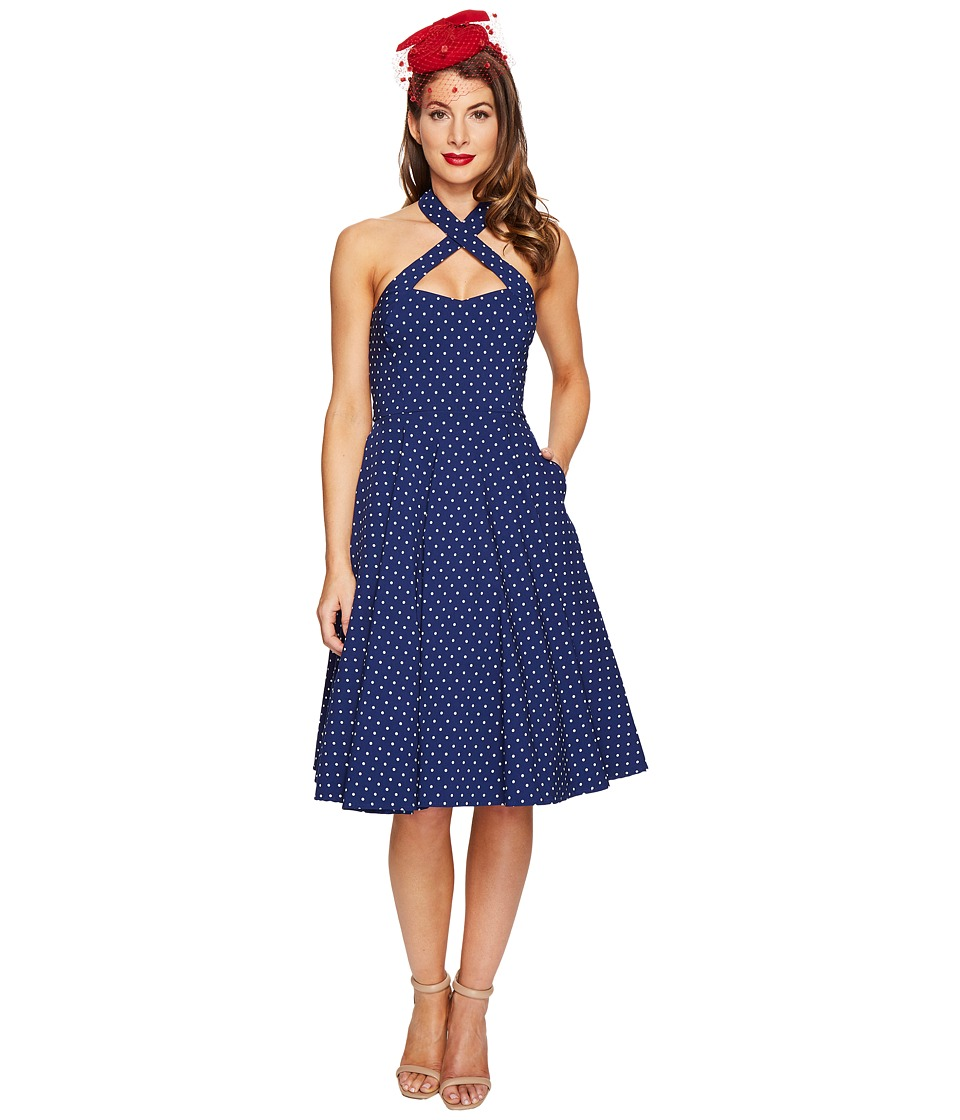Unique Vintage Rita Cross Neck Flare Dress (Royal/White Dotted) Women