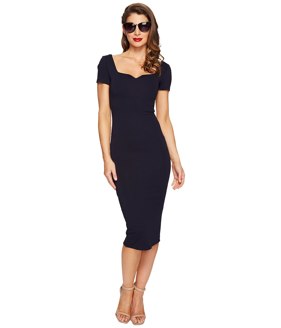 Unique Vintage - Harris Knit Wiggle Dress (Navy) Women's Dress