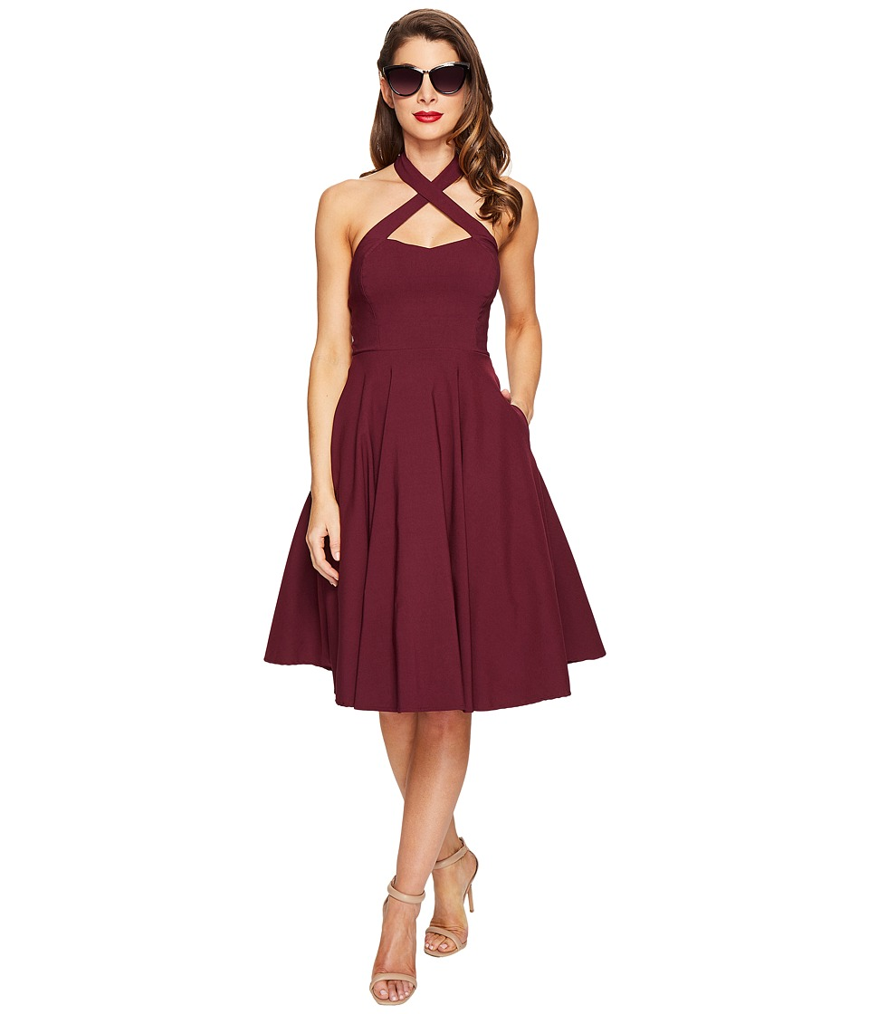 Unique Vintage - Rita Cross Neck Flare Dress (Purple) Women's Dress