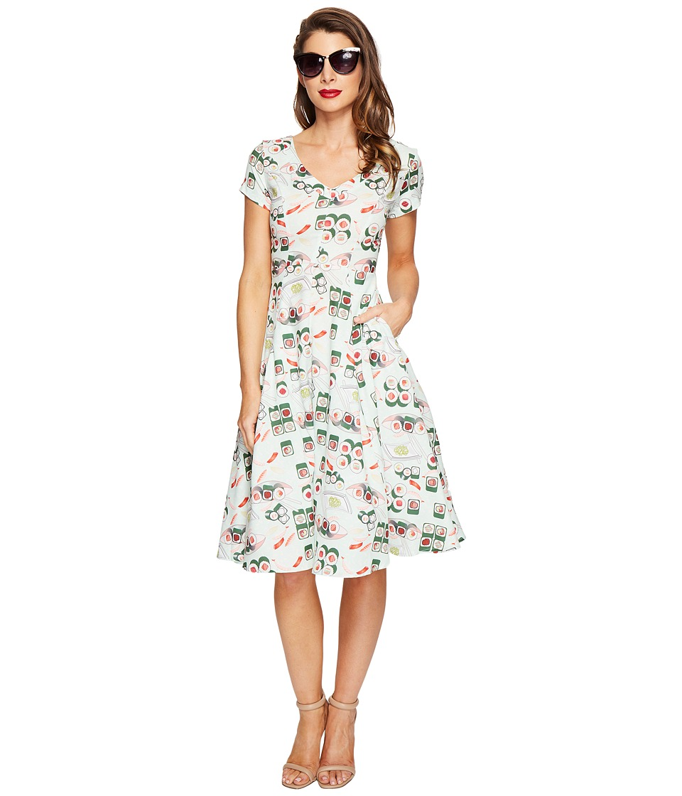 Unique Vintage - Phoebe Swing Dress (Sushi Print) Women's Dress