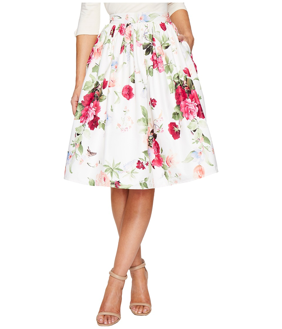 Unique Vintage High Waist Swing Skirt (White Floral Posey Print) Women