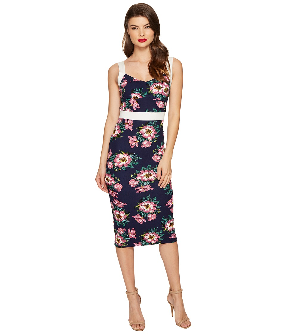 Unique Vintage Summerstock Fitted Dress (Navy/Purple Floral) Women