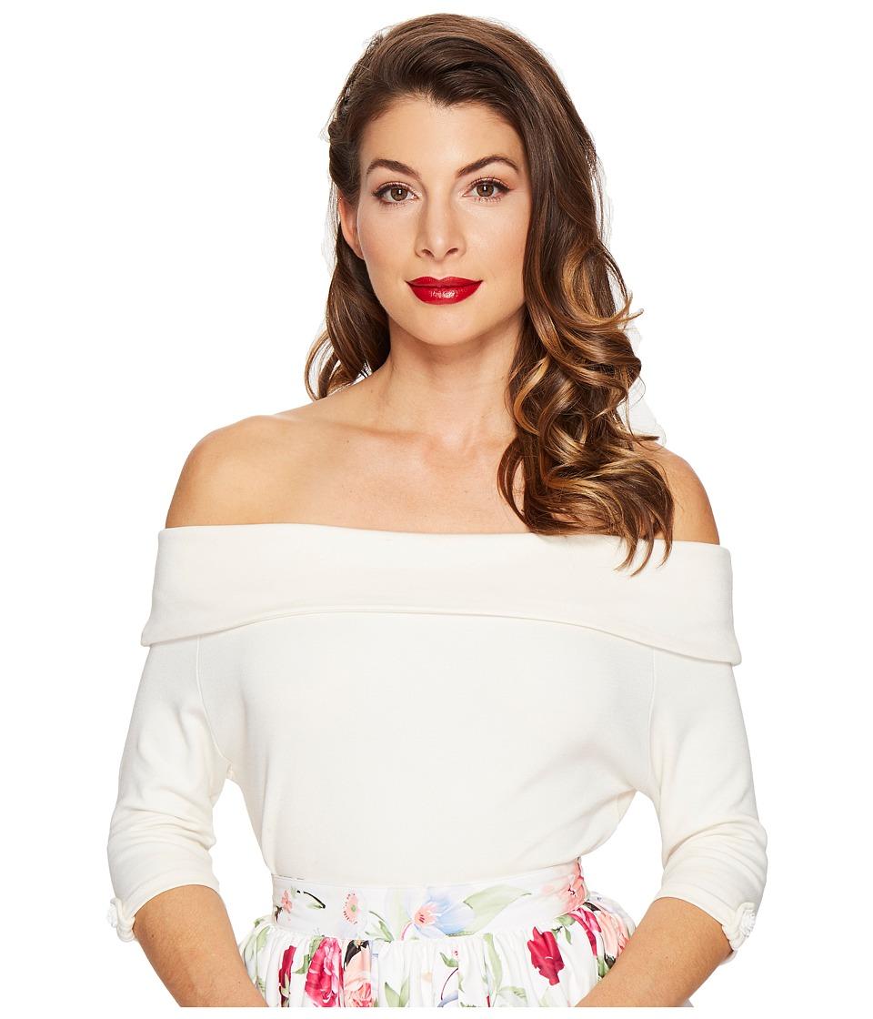 Unique Vintage - Off Shoulder Stretch Knit Brigitte Top (Cream White) Women's Clothing