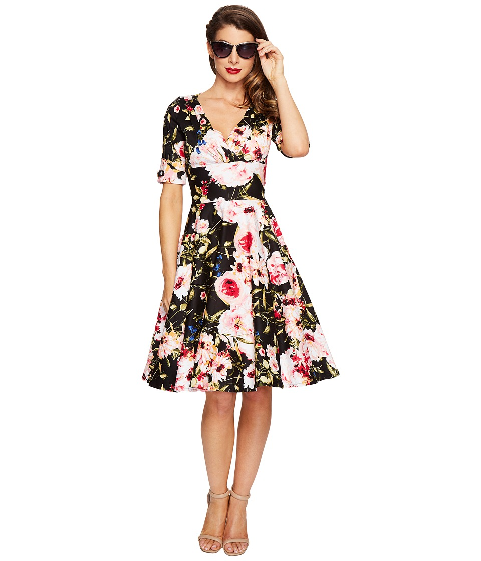 Unique Vintage - 1/2 Sleeve Delores Swing Dress (Black/Pink Floral) Women's Dress