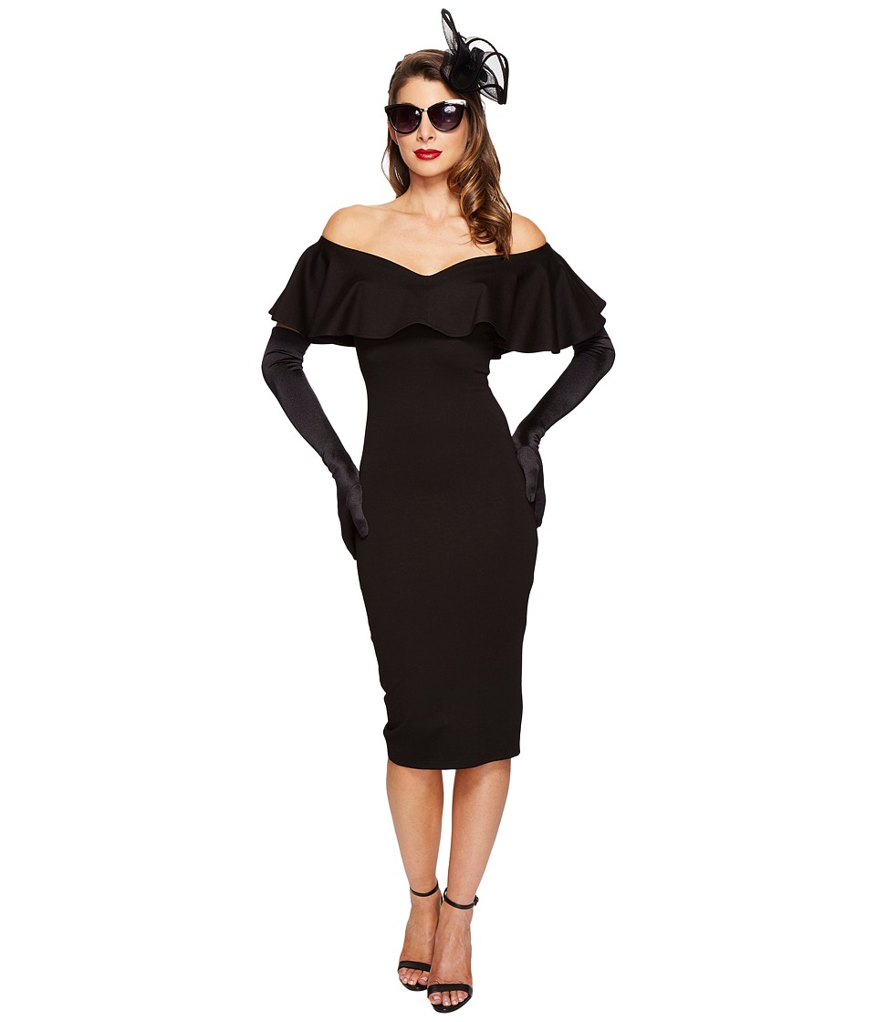 Unique Vintage Sophia Off Shoulder Wiggle Dress (Black) Women