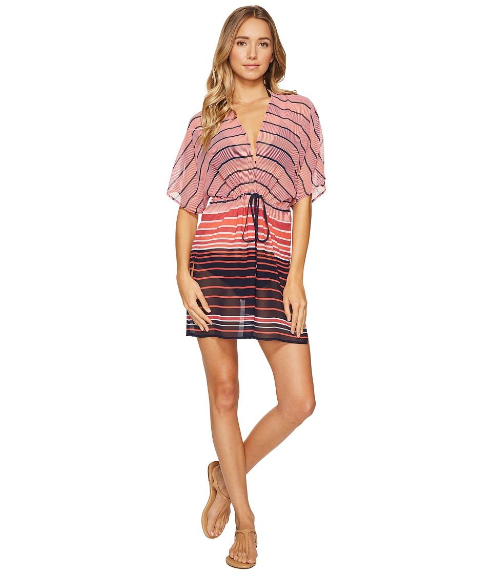 MICHAEL Michael Kors - Abby Stripe V-Neck Caftan Cover-Up (Electric Pink) Women's Swimwear