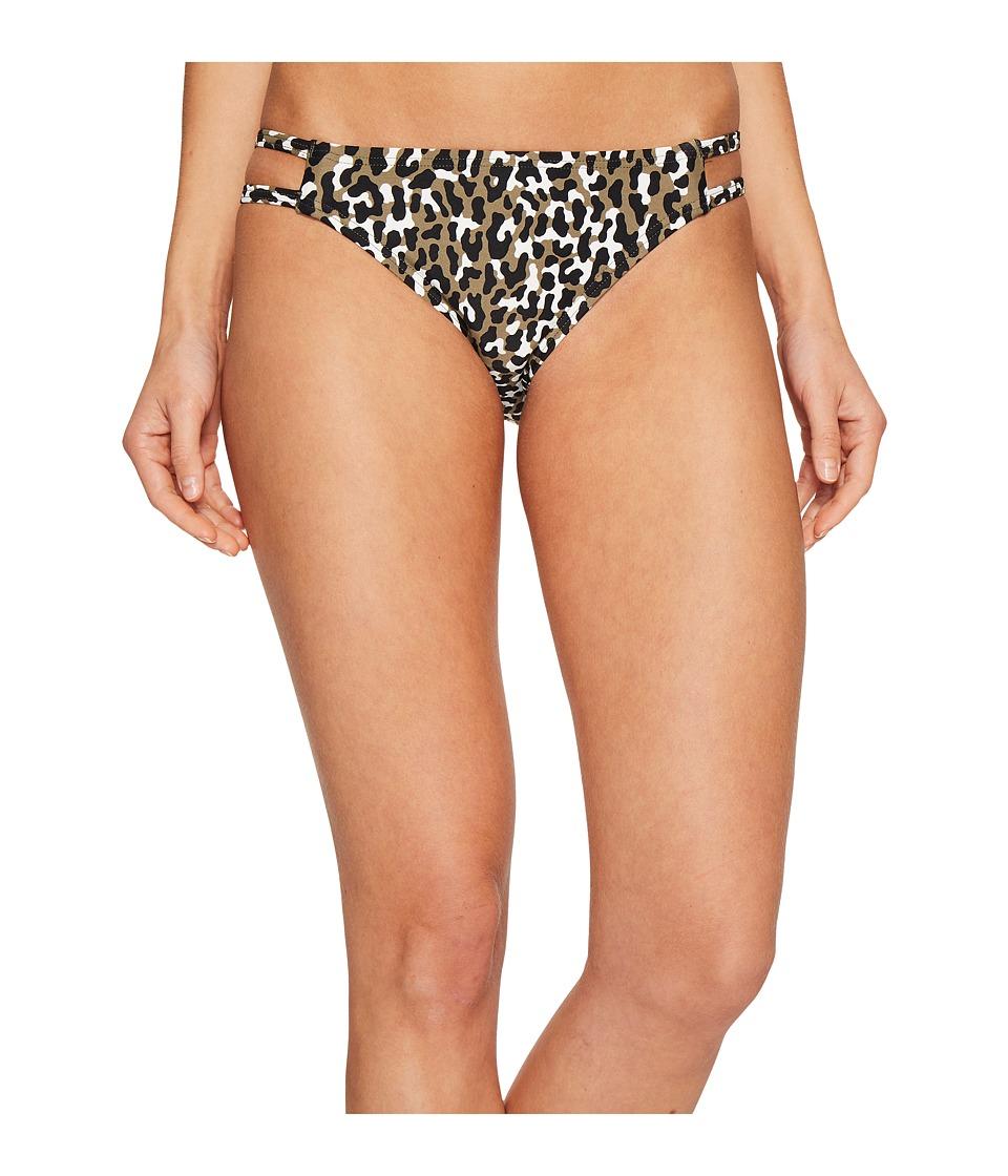 MICHAEL Michael Kors - Thora Leopard Double Strap Bikini Bottom (Ivy) Women's Swimwear