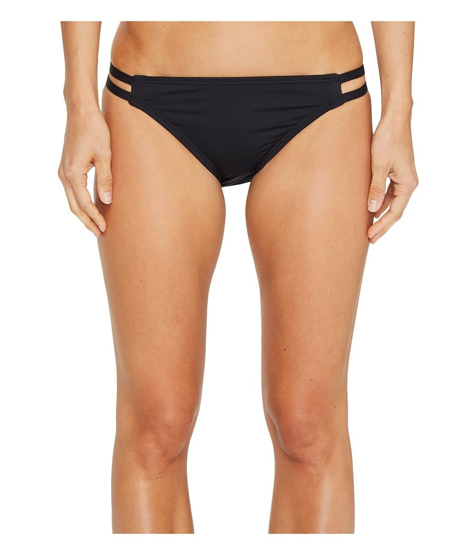 MICHAEL Michael Kors - Solids Double Strap Bikini Bottom (Black) Women's Swimwear