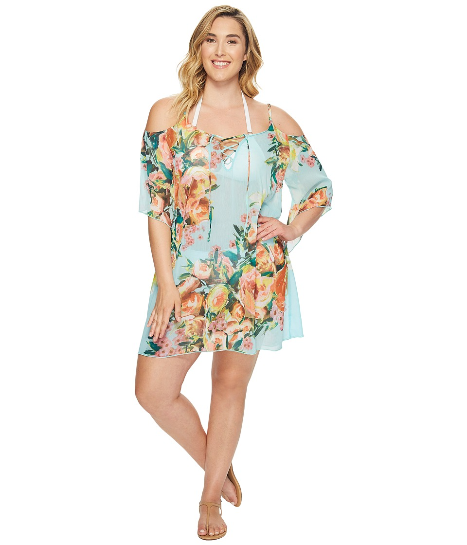 BECCA by Rebecca Virtue - Plus Size High Tea Cold Shoulder Dress Cover-Up (Multi) Women's Swimwear