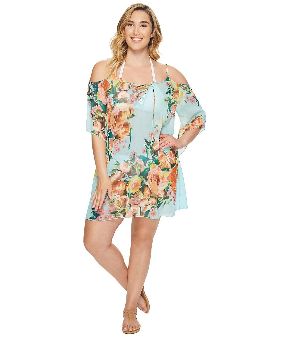 BECCA by Rebecca Virtue - Plus Size High Tea Cold Shoulder Dress Cover-Up (Multi) Women's Swimwear