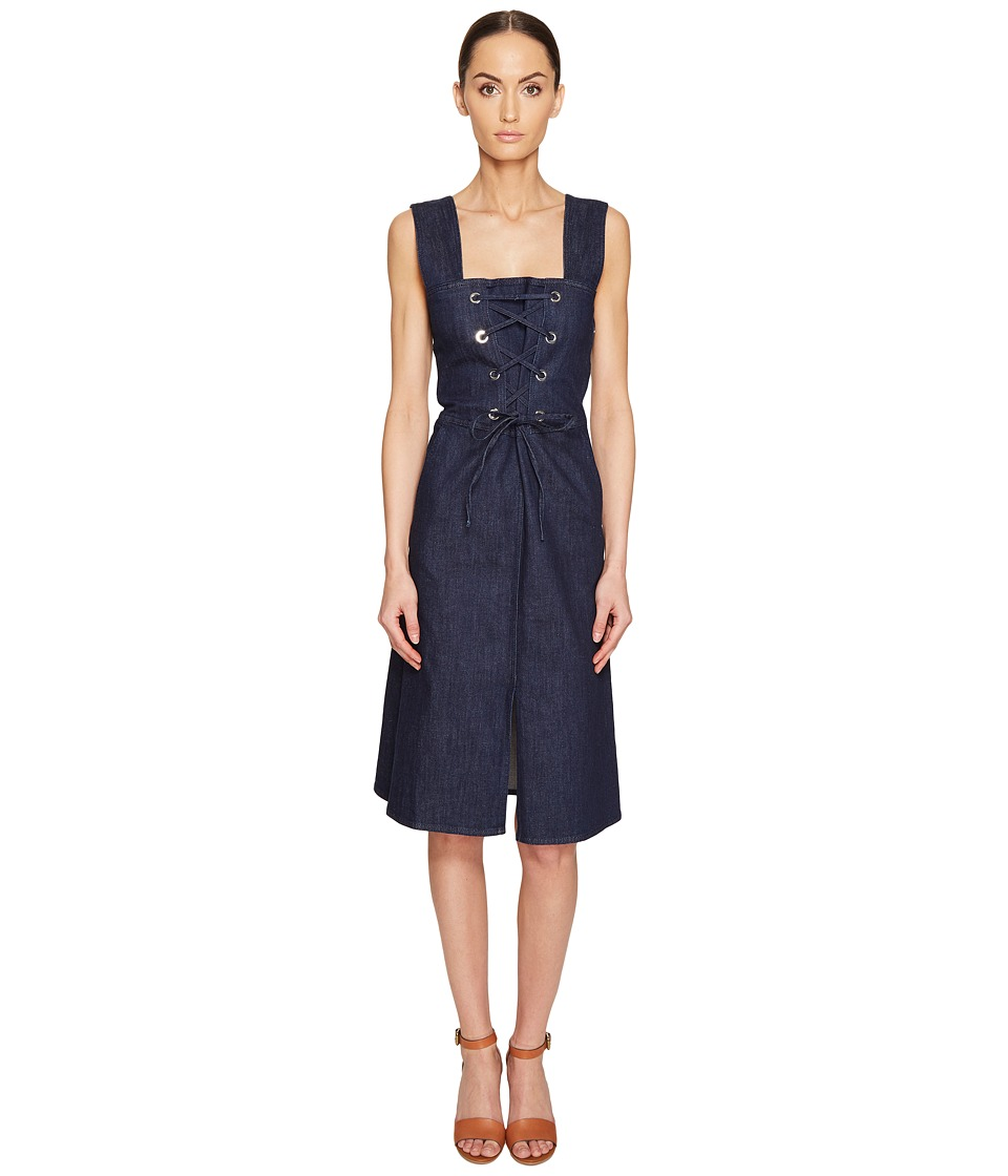 See by Chloe - Denim Lace-Up Dress (Stoned Indigo) Women's Dress