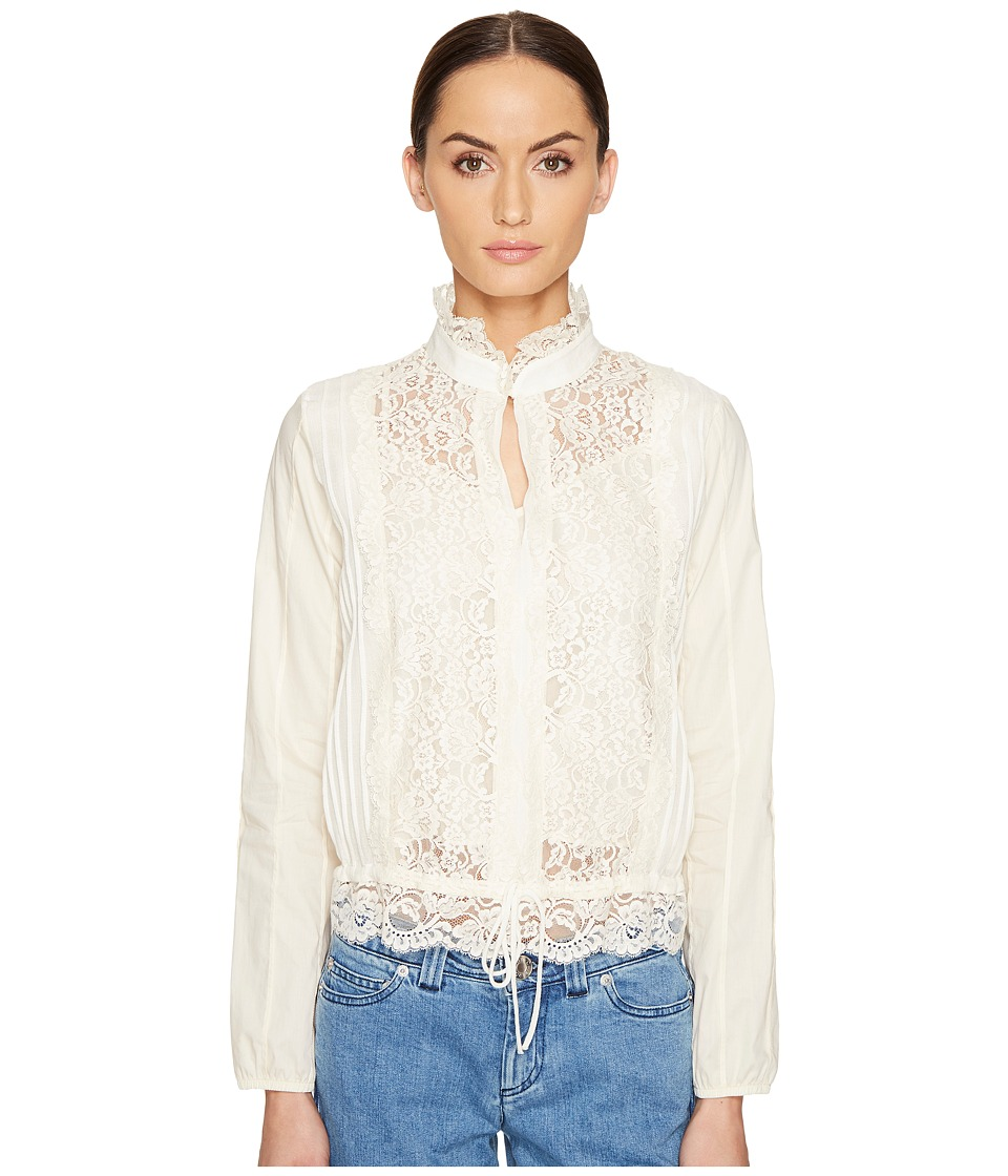 See by Chloe - Lace Front Blouse (Off-White) Women's Blouse