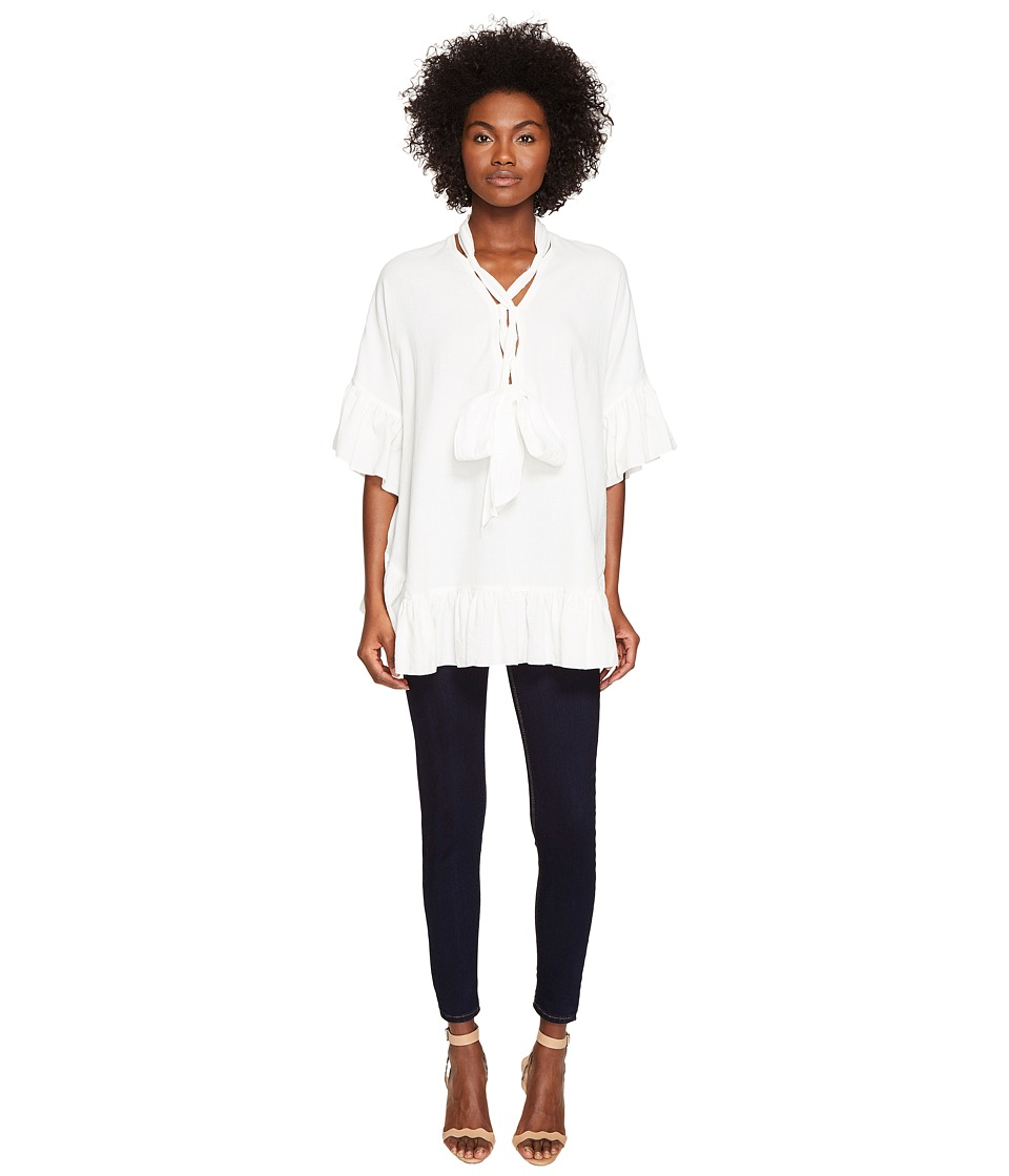 See by Chloe - Cotton Tie Ruffle Tunic (White) Women's Blouse