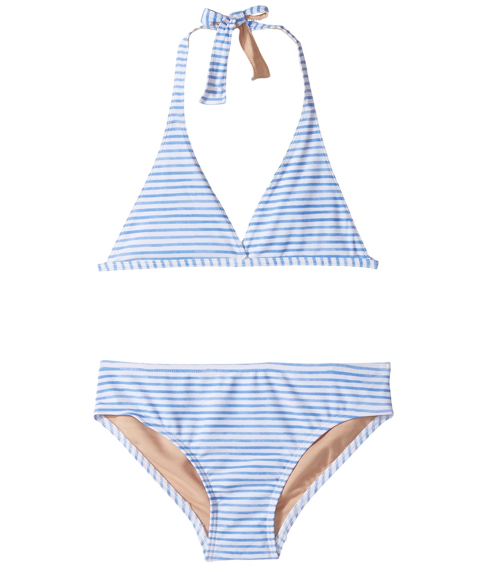 Toobydoo Blue Watercolor Stripe Bikini (Infant/Toddler/Little Kids/Big Kids) (Blue/White) Girl