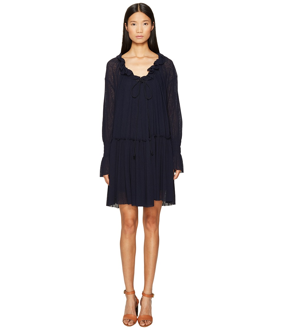 See by Chloe Jersey Long Sleeve Ruffle Dress