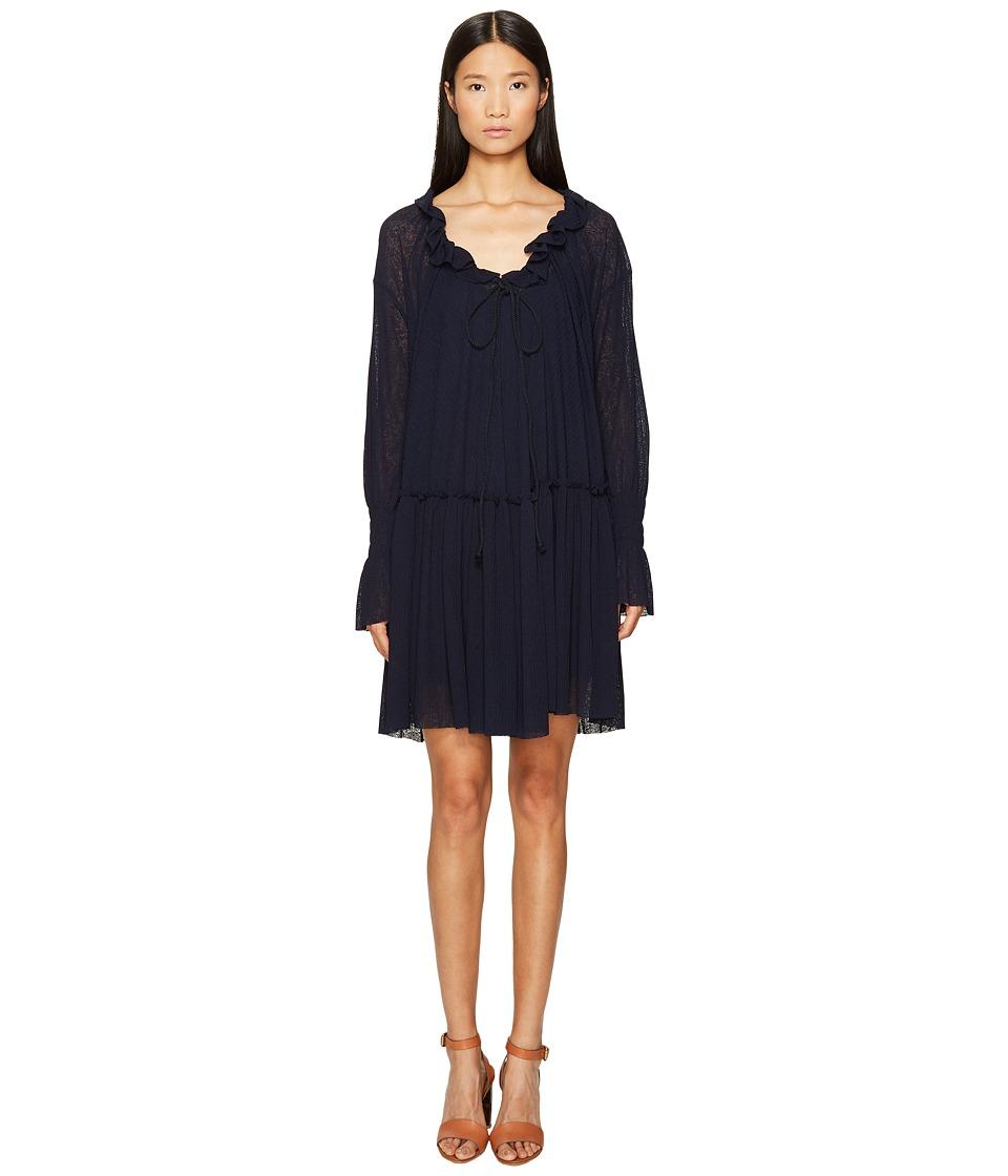 See by Chloe Jersey Long Sleeve Ruffle Dress (Navy) Women
