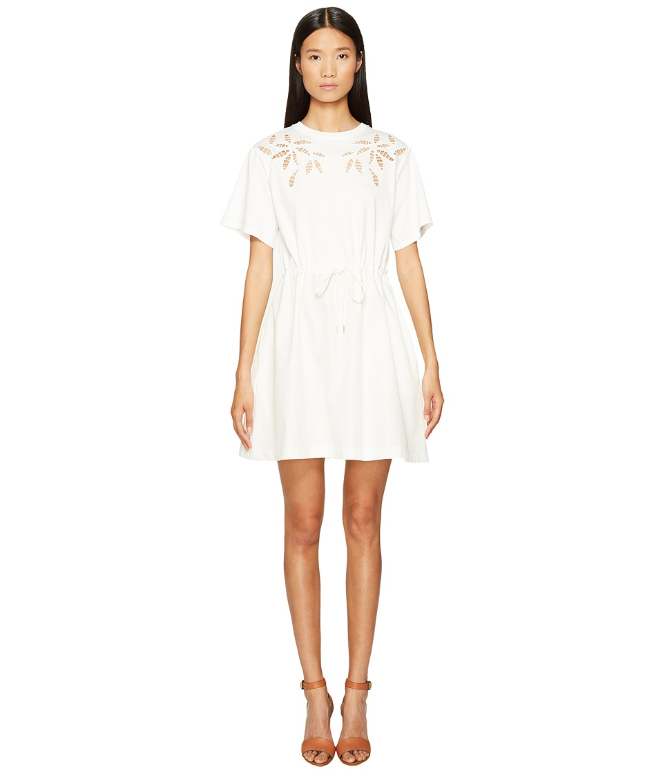 See by Chloe Cotton Short Sleeve Flower Drawstring Dress (Off-White) Women
