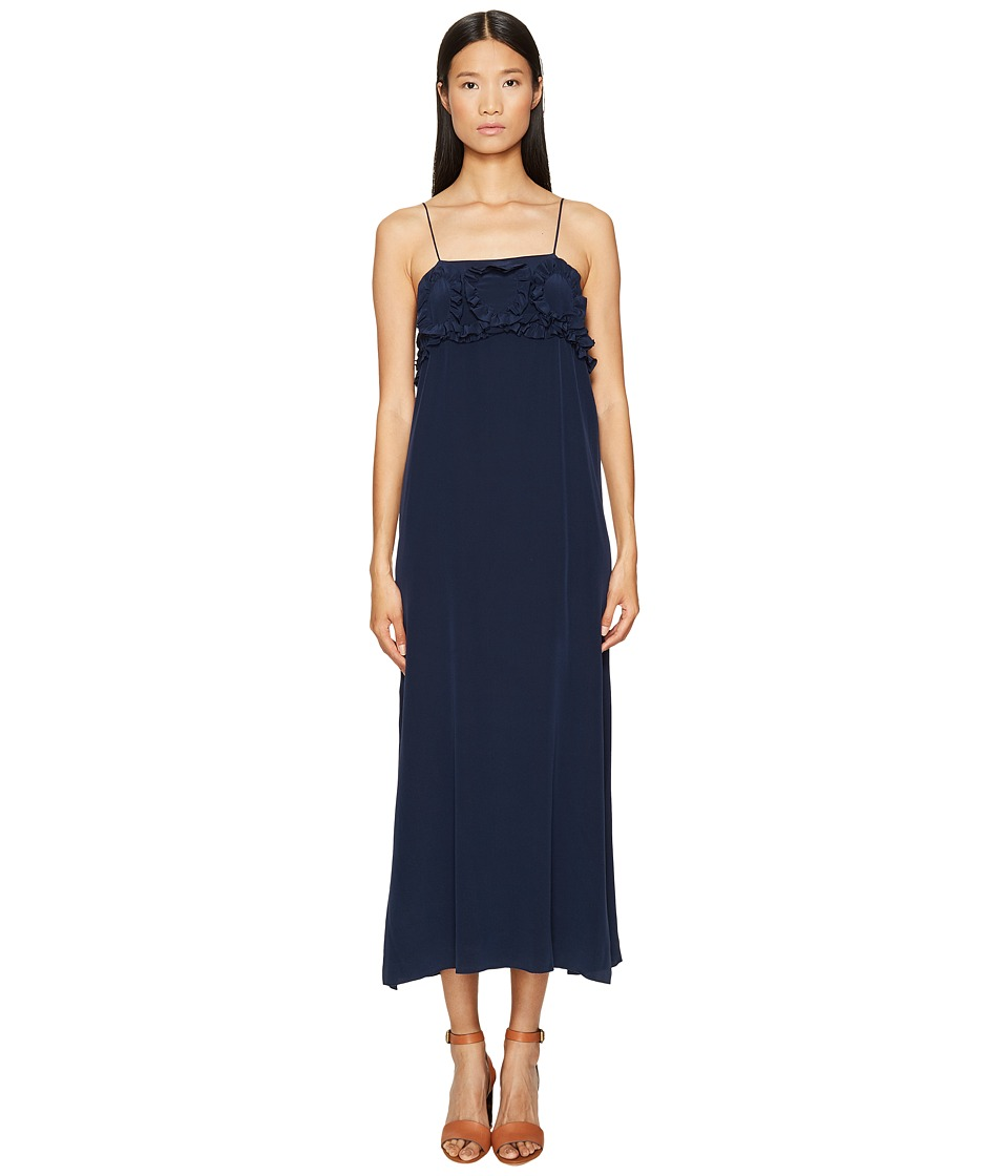 See by Chloe - Crepe Ruffle Maxi Dress (Blue Diamond) Women's Dress